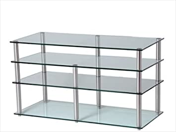 GEM Slender 5shelf frost/col Hifi/TV Stand 800x400