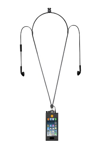 iHangy IHG-ONT-85638 Music Lanyard Necklace with Slip in 5 Case for iPhone 5 with Earbuds - 1 Pack - Retail Packaging - Black