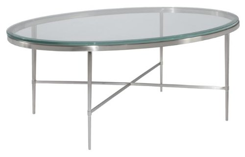New Oval Coffee Cocktail Table Polished Nickel Beveled Glass Modern Contemp