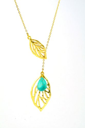 Chain Necklace with Turquoise Beads and Gold Plated Leaf Pendant 28 Inches