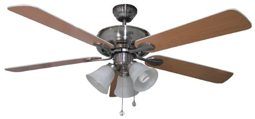 Canarm Ltd Newport Es Bpt 52 Frosted Glass 3 Bulb Light Kit 52 Inch Ceiling Fan W 5 Blades White Brushed Pewter John H Marroquinlpe
