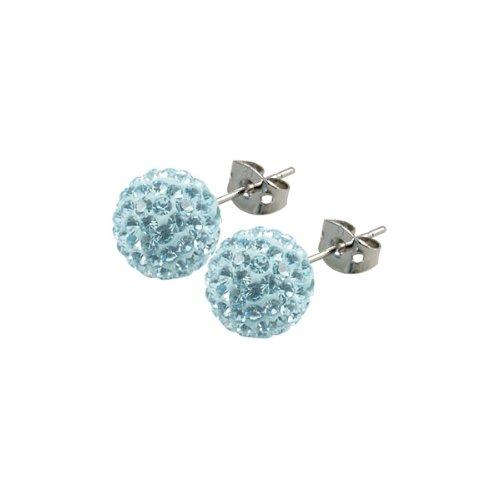 Tresor Paris Donnay Light Blue Crystal Earrings 10mm
