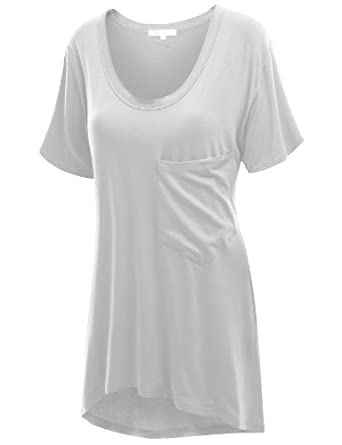 SJSP Women's loose fit U neck Long T-shirt with a pocket White S