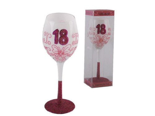 18th Birthday Pink Wine Glass.