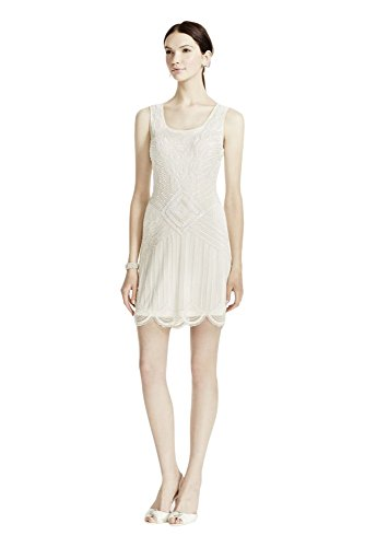 Novelty Beaded Short Tank Wedding Dress with Scallop Hem Style 061901390,...