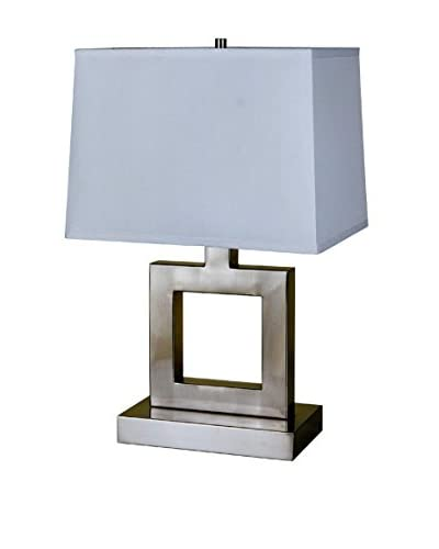 ORE International Square Table Lamp, Satin Nickel