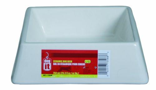 Dogit Square Ceramic Dog Bowl, Cream, Large front-588330