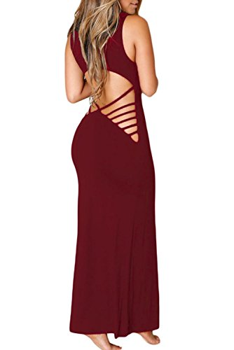 Chase Secret Womens Summer Strappy Back Maxi Long Dress Small Wine