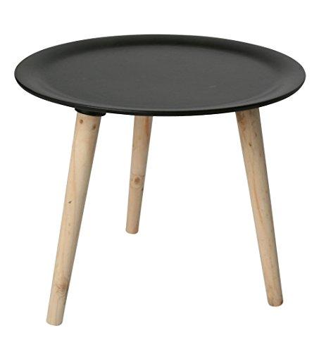 Retro-Beistelltisch-rund-38-cm-schwarz-Holz-Tisch-Couchtisch-Nachttisch-Sofatisch