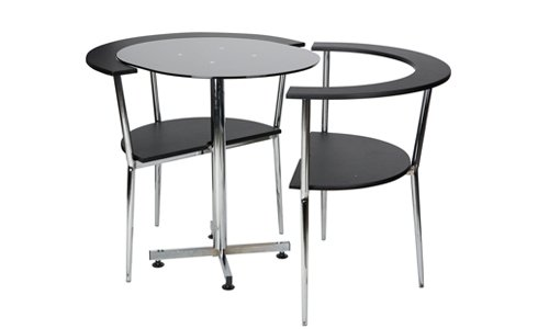 Ethos Space Saver Love Table with 2 Chairs, Black