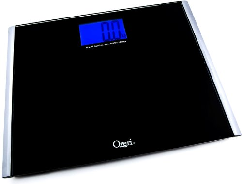 Ozeri Precision Pro II 440 lbs Digital Bathroom Scale, xLarge Tempered Glass Platform with Blue LCD and StepOn Activation