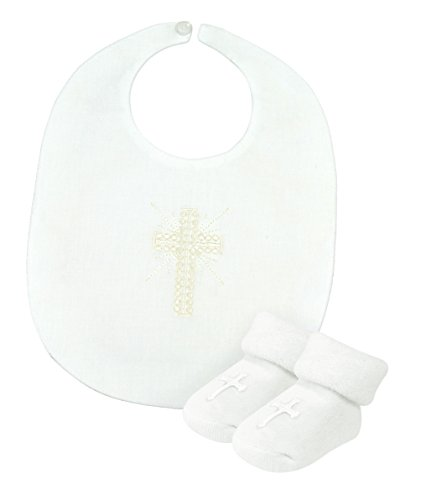 Stephan Baby Infant Boy/Girl Embroidered Christening Bib and Bootie Socks Set, White