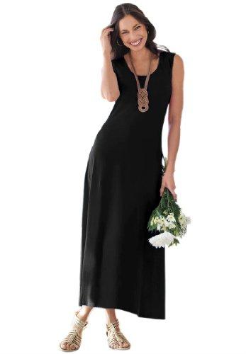 Jessica London Women's Plus Size Petite Tank Dress Flared Black,18 P