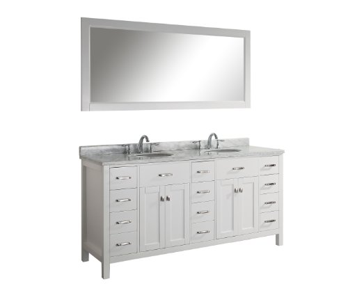 Virtu USA MD-2172-WMRO-WH Aveline 72-Inch Double Sink Bathroom Vanity with Italian Carrera White Marble Countertop and Mirror, White Finish