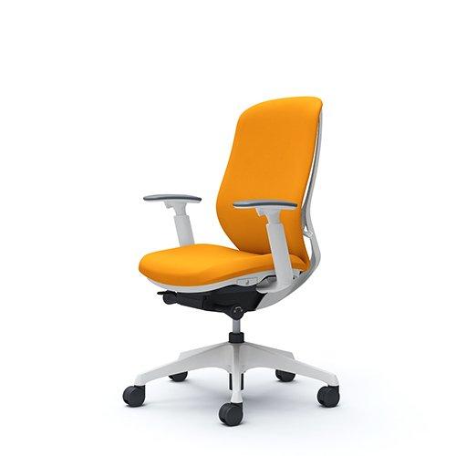 オカムラ オフィスチェア シルフィ― ハイバック クッション アジャストアーム 樹脂脚 ホワイトフレーム C687XW-FSG8 オレンジ