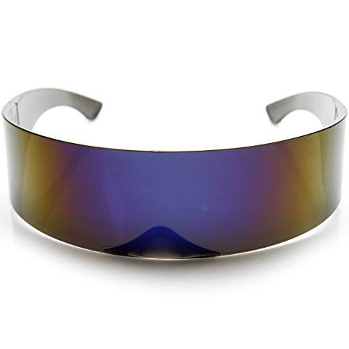 zeroUV - Futuristic Wrap Around Monoblock Shield Sunglasses (Blue)