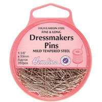 Hemline Dressmakers Fine Long Pins 30mm, pk of 25g