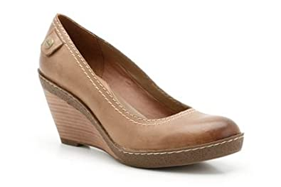 Clarks Shoes - Womens Clarks Hazelnut Sweet Caramel Tan Leather Casual Fashion Wedge Shoes Size 8