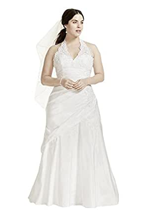 Taffeta lace halter a line plus size wedding dress style for Amazon cheap wedding dresses