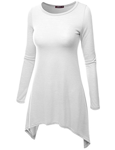8e467bd73fe Doublju Womens Long Sleeve Crewneck Cotton Knit Asymmetrical - Import It All