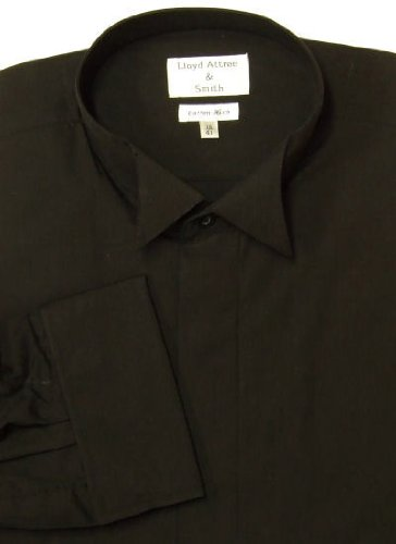 Mens Formal Black Wing Collar Dress Shirt with Double Cuff 14.5