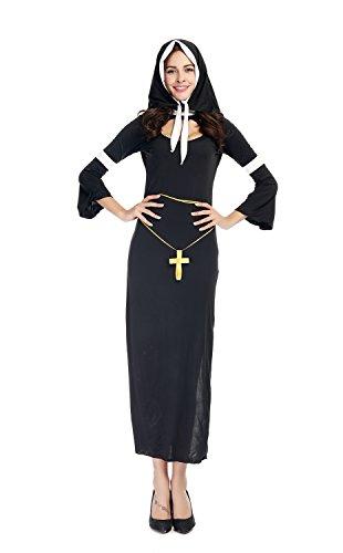 Bulacker Catholic Nuns Wear Role Play Costume Set,Black,One size (Clever Halloween Costume Ideas Couples)