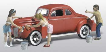Suds & Shine 1940's Ford Coupe w/Figures Washing Car N Scale Woodland (Car Washing Street compare prices)