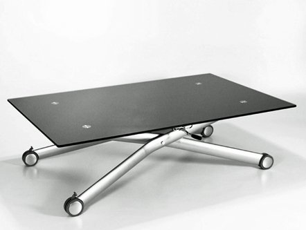 NERO HEIGHT ADJUSTABLE GLASS COFFEE/DINING TABLE