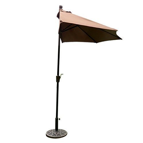 EasyGo - 9' Half Umbrella 200g Polyester Patio Outdoor Awning Hut Parasol with Crank 5 Steel Ribs Aluminum Pole - Beige (Mexican Restaurant Lights compare prices)