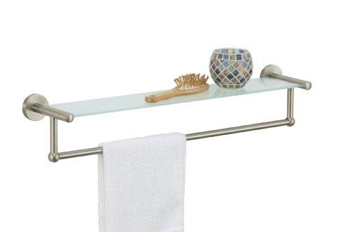 Organize It All Satin Nickel Glass Shelf With Towel Bar (16905) front-953113