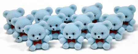 """1"""" Mini Flocked Blue Baby Teddy Bears - Pkg Of 24"""