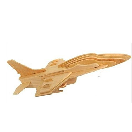 Blue ELF ® 3D Jigsaw Woodcraft Kit Wooden Toy Puzzle Model-- F-16 Fighter Plane - 1