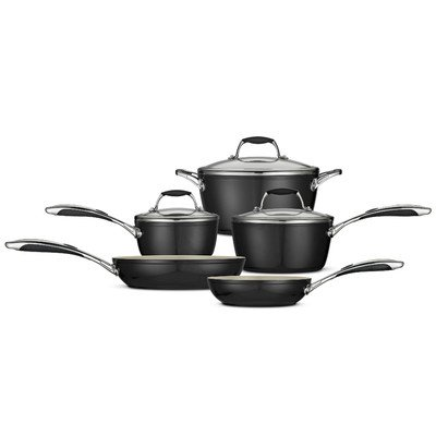 Tramontina 80110/200Ds 8-Piece Gourmet Ceramica 01 Deluxe Cookware Set, Metallic Black