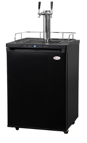 Kegco K309B-2Hb Digital Keg Beer Dispenser - Double Faucet - Home Brew Ball Lock - Black