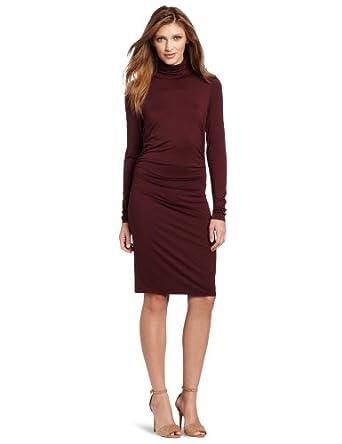 Three Dots Women's Turtleneck Dress, French Burgundy, X-Small
