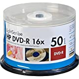 HP DVD Lightscribe Recordable Media - DVD-R - 16x - 4.70 GB - 50 Pack Cake Box (4064)