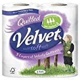 Triple Quilted Velvet Toilet Tissue Roll White 40 Roll per pack