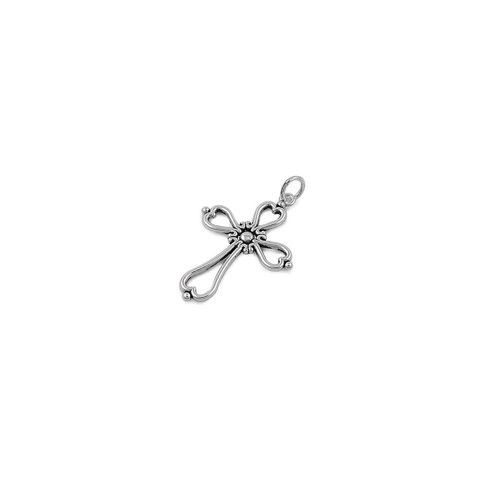Sterling Silver Vintage Heart Cross Pendant Celtic Design Solid 925 Italy 39mm (Pendant ONLY) Jewelry