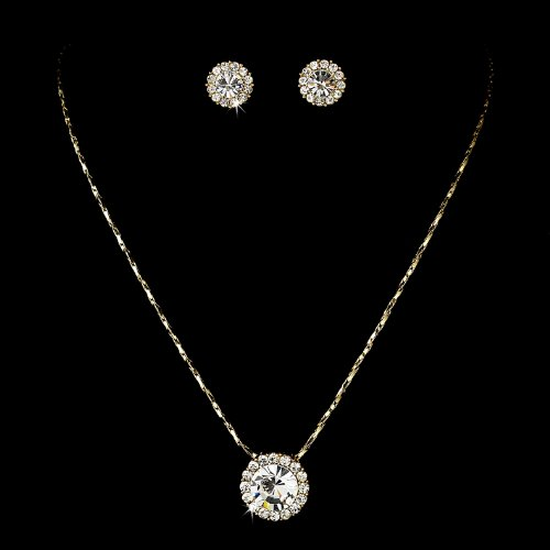 Gold Clear Crystal Rhinestone Pendant Bridal Wedding Necklace Earring Set