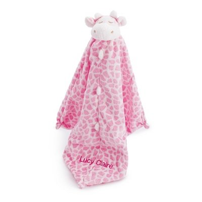 Personalized, Embroidered Stuffed Pink Giraffe Blankie front-482654