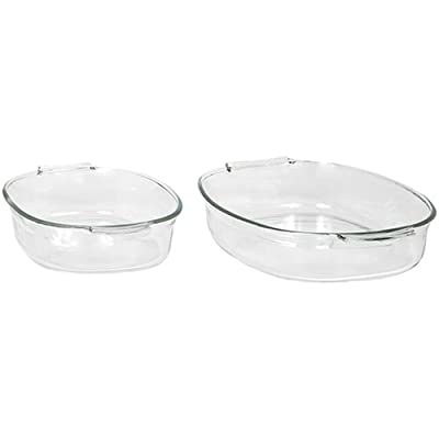 Pyrex Bakeware 2-Quart and 4-Quart Oval Roasters, Set of 2