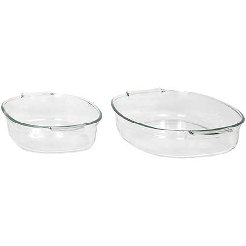 Pyrex Bakeware 2-Quart and 4-Quart Oval Roasters, Set of 2 (Pyrex 2 Qt Oval Roaster compare prices)