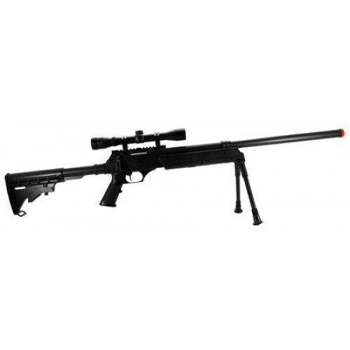 CYMA M187D Bolt Action Airsoft Sniper Rifle FPS-550 4X32 Bosile Scope, Collapsible Stock, Bipod Airsoft Gun