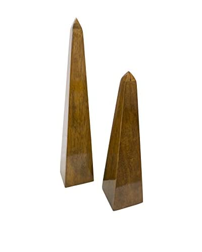 Couture Acacia Set of 2 Obelisk Statues, High Gloss Natural