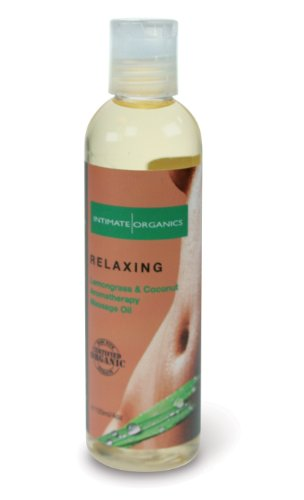 Intimate Organics Relaxing Massage Oil, Lemongrass and Coconut, 4 Ounce