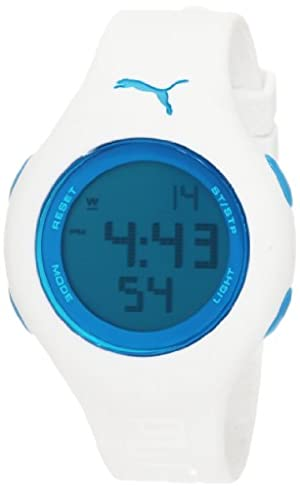 PUMA Women's PU910912011 Loop Small Digital White Blue Watch