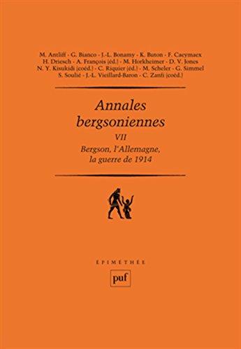 annales-bergsoniennes-tome-7-bergson-lallemagne-et-la-guerre-de-1914