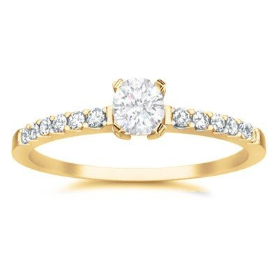 0.58 Carat Cheap Engagement Ring with Round cut Diamond on 18K Yellow gold
