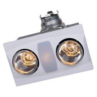 Aero Pure Fan- A515AWhite-2 Bulb Quiet Bathroom Heater Fan with Light
