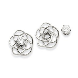 14k White Fancy Knot With CZ Stud Earrings Jackets - JewelryWeb